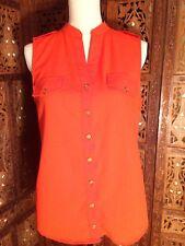 Women's MINE  blouse size Large Orange Sleeveless Shirt  Button Down Shirt