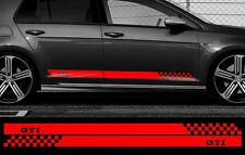 2 X BANDES ROUGE POUR VW GOLF GTI 180cmX8,5cm AUTOCOLLANT STICKER AUTO BD566