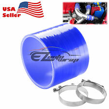 """4"""" Silicone Hose Adapter Transition Blue Coupler Pipe Connector + T Clamp Intake"""