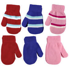 Baby Boy / Girl 2 Pack Winter Warm Cute Striped Knitted Mittens
