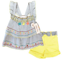 Little Lass New 2-Pc Girls Fun Blue Blouse Top & Shorts Set LL515010  SZ 2-4