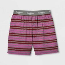 Goodfellow & Co. Men's Pink & Grey Striped Knit Boxer Shorts – Size M (32/34)