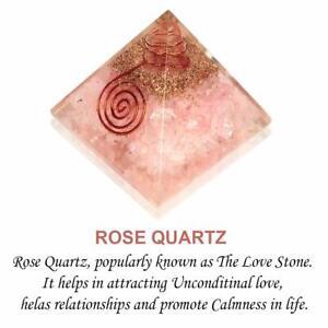 Piedra Orgonica Pirámide Cuarzo Rosa Para Reiki Curación y Cristal Curativo