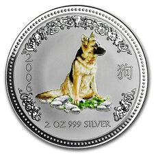 2006 Australia 2 oz Silver Year of the Dog BU (Colorized)