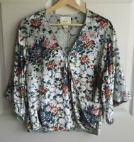 Maeve Anthropologie Womens Velvet Floral Umi Wrap Blouse Top Shirt Size Small
