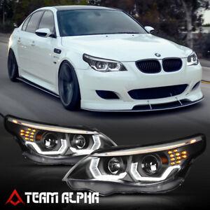 Fits 2004-2007 BMW E60 {DUAL 3D HALO/LED SIGNAL/DRL} Black Projector Headlight