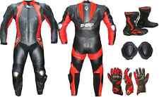 Tuta Moto Intera In Pelle Guanti+Stivali Professionali Protezioni Kit BIESSE-48^