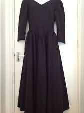 LAURA ASHLEY vintage black cotton midi dress, size 12