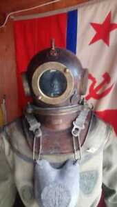 Vintage Maritime Russian 3 Bolt Deep Sea Diving Helmet Original