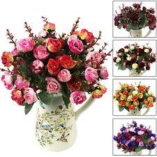 Ramo De 21 Rosas Flores Plantas Artificiales Seda Decoración Buqué Noble