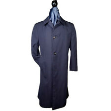 AQUASCUTUM Navy Blue Trench Coat 42L 3Button 1Vent 100% Wool Mad in Canada