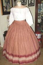 Civil War Dress~Victorian Style Lovely Homespun 100% Cotton Burgundy Plaid Skirt
