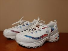 Skechers Womens D'Lites Siesta Sneakers Shoes, Size 7 Medium, White, Air-Cooled