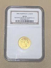 1866 Australia 🇦🇺 1/2 SOV HALF SOVEREIGN Gold Coin AU 55 Reserve Bank 🏦 -RARE