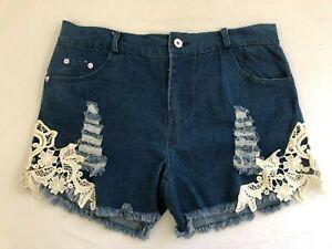 Junior's Women's Ltwt. Distressed Denim Shorts, w/ Lacey Appliques Sz XL Nw/oT