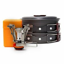 VINQLIQ Camping Campfire Cookware Set Mess Kit Camp Cooking 11Pcs with Stove