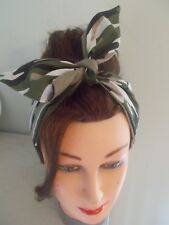 HEAD SCARF HAIR BAND ARMY CAMOUFLAGE GREEN CAMO ROCKABILLY NECK PIN UP LAND GIRL