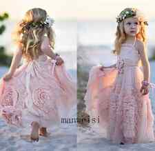 Lovely Tutu Pink Flower Girl Dresses Tulle Custom Flowers Birthday Party Gown