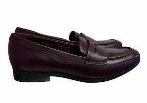 Clarks Burgundy Penny Loafers Leather Slip On Flats Comfort Size 10 M