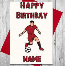 football personnalisé Carte d'anniversaire pour les garçons Men Dad fils - Rouge