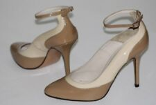 "Charles David 8.5 M Tan Beige Patent Leather Pump UNWORN 3.8"" Heel Ankle Strap"