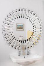 Large Wall Mirror 3Ft 91cm) Contemporary 3D Sunburst All Glass Round Bathroom