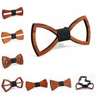 New Men's Wooden Bow Tie Necktie Handmade Wedding Hollow Out Neckwear Accessory