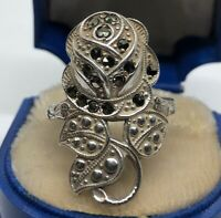 Vintage Sterling Silver Ring 925 Size 8.5 Art Deco Uncas Rose Flower Marcasite