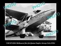OLD POSTCARD SIZE PHOTO OF QANTAS EMPIRE AIRWAYS RMA MELBOURNE AEROPLANE c1950s