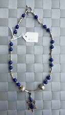 Royal Blue & Light Red Colored Beads Lapis Pendant Sterling Silver Necklace