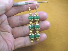 (ee403-21) light Green Jade Canada 10 mm gemstone gold  filigree dangle earrings