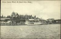 Bar Harbor Area Mt. Desert Island Ferry Boat at Maine Central Wharf Postcard