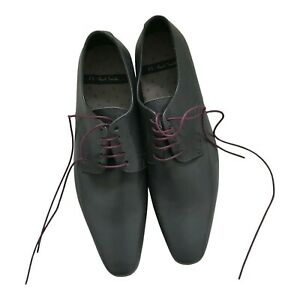 Paul Smith Mens PS Grey Leather Shoes with Purple Laces Size 5 / 39