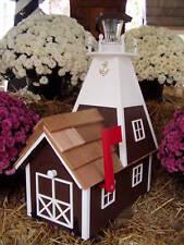 Amish Homemade Solar Nautical Lighthouse Rural Mailbox Brown & White