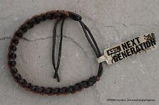 "Rugged Jewelry Men Women Child E Leather Bracelet 11"" Black Brown Woven Design"