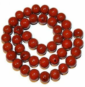 """CPC138 Coral Red 9mm Round Porcelain Beads 16"""""""