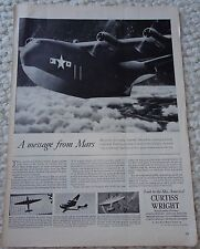 """CURTIS WRIGHT MARTIN MARS """"A MESSAGE FROM MARS"""" 1944 MAGAZINE AD **VERY RARE!!**"""