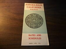 MARCH/APRIL 1961 SONORA BAJA RAILWAY MEXICO PUBLIC TIMETABLE