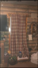 "Red plaid rustic cabin curtains. 84"" length. 2 panels"