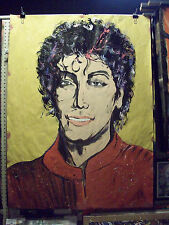 HUGE Original Painting IN the raw Michael jackson music, beat it, billy jean