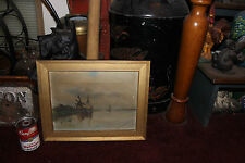 Antique 1800'S Oil Painting On Canvas-Nautical Windmill Boats-Signed Tlottetta