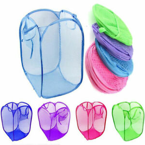 Foldable Pop Up Mesh Washing Laundry Basket Bag Net Hamper Toy Tidy Storage