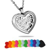 Heart Diffuser Locket Pendant Aromatherapy Essential Oil Perfume Necklace New NG