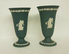 Lovely Wedgwood Jasper Ware Teal Green Laurel Vases