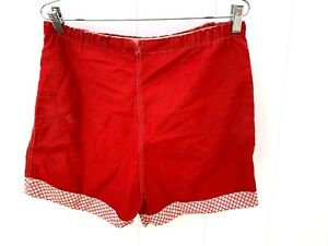 Womens M/L VINTAGE Shorts 40'S 50'S Cotton  High Waist RED & White  Rockabilly