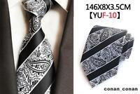 Black Tie Silver and White Paisley Stripe Patterned Handmade 100% Silk Necktie