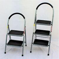 Step Ladder Foldable Non Slip 2 or 3 Step Steel Safety tread Grey Heavy Duty
