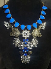 Faux Crystal Rhinestone and Blue Set Faux Stone Oversized Statement Necklace