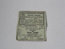 World War Two US Military Furlough Ticket from Boston to NY  1943