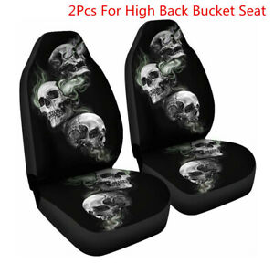2Pcs Front Car Seat Covers Skull Pattern Universal Autos Chair Protector Cushion